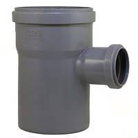 Тройник 110х50/90º ПП Инсталпласт с раструбом и уплотнительным кольцом для внутренней канализации, серый