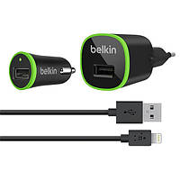 Набор Belkin 3в1, АЗУ-USB+СЗУ-USB+кабель 1м USB-5 iPhone, Black, Box