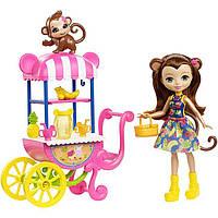 Игровой набор Фруктовая тележка и Обезьянка Мерит Энчантималс / Enchantimals Fruit Cart Set