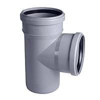 Тройник 110х110/90º ПП Инсталпласт с раструбом и уплотнительным кольцом для внутренней канализации, серый