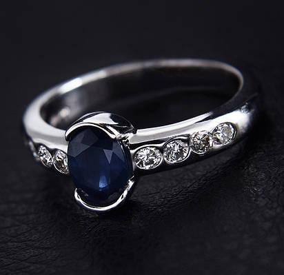 Золотое кольцо с сапфиром и бриллиантами С34Л1№2