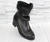 Зимние ботинки с опушкой на каблучке. Натуральная кожа. 1452/5