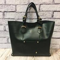 Большая зеленая сумка шоппер из натуральной кожи 1674