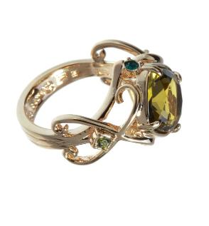"""Кольцо """"Бахтигюль"""" покрытое золотом (r601p0ko)"""