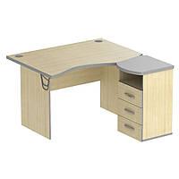 Стол с тумбой М430 АртМобил (1200х740/1420х760мм) клен/кромка серый металлик (AMF-ТМ)