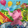 Бязь с зайчиком и слоненком на радуге
