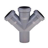 Хрестовина 50х50х50/45º ПП Інсталпласт з розтрубом і ущільнювальним кільцем для внутрішньої каналізації, сірий