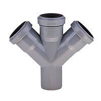 Крестовина 50х50х50/45º ПП Инсталпласт с раструбом и уплотнительным кольцом для внутренней канализации, серый