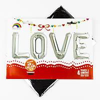 """Фольгированное слово """"LOVE"""", серебро, 80 см"""