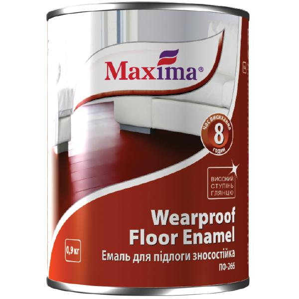 Емаль алкідна зносостійка Maxima ПФ-266, червоно-коричнева 0,9 л