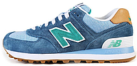 """Женские кроссовки New Balance ML 574 PIA """"Blue/Green"""" (Нью Баланс) синие"""