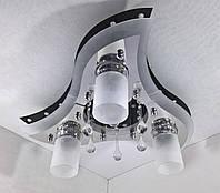 Люстра потолочная Космос с цветной LED подсветкой и авто отключением с пультом 31225/3+1 Черный 20х50х50 см.