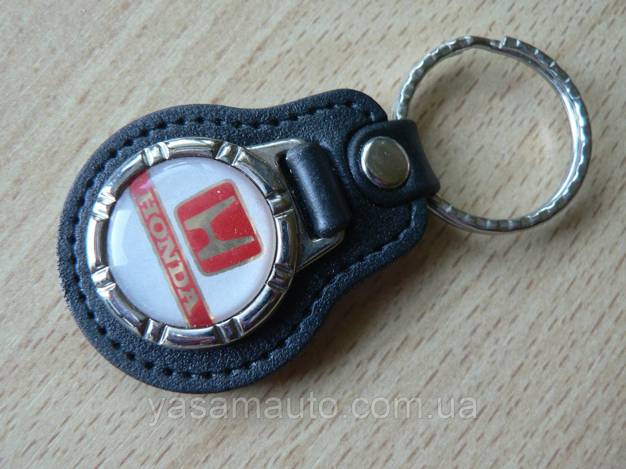 Брелок кожзам округлый HONDA  логотип эмблема Хонда автомобильный на авто ключи комбинированный