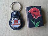 Брелок кожзам округлый HONDA  логотип эмблема Хонда автомобильный на авто ключи комбинированный , фото 2