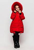 Теплая зимняя куртка Диана с натуральным мехом Размеры 122- 146 Красный