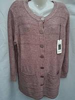 Женская кофта большого размера на пуговицах с карманами в расцветке
