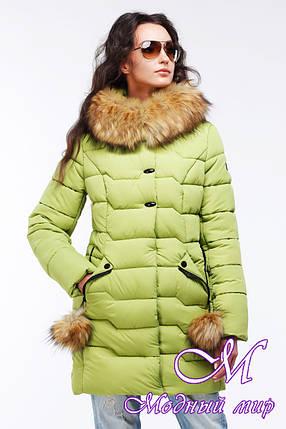 Женская теплая зимняя куртка с мехом больших размеров (р. 44-56) арт. Гелана, фото 2