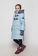 Стильное зимнее пальто на девочку Линда Размеры 104 - 158 голубой