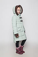 Зимнее пальто на девочку Линда с модным довязом Размеры 128- 146 Оливка