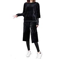 Спортивный костюм велюровый Женский черный 00210 все размеры