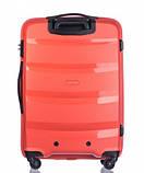 Чемодан большой дорожный польский пластиковый на 4 колесах красный 100 л Puccini ACAPULCO PP012A 9, фото 3