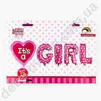 """Фольгированное сердце и буквы """"It`s a GIRL"""", розовые, 80 см"""