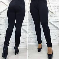 Чёрные женские стильные лосины батал с широким поясом. Арт-1616 37 5ed85cad7e86e