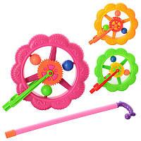 Каталка на палке, колесо, трещотка, 3 цвета, в кульке 189-1