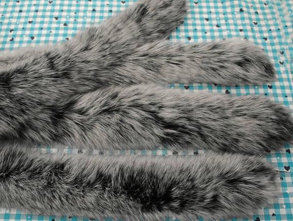 Опушка из песца черно- белая детская 60 см., фото 2
