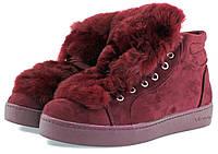Красные женские ботинки с мехом кролика Vices.