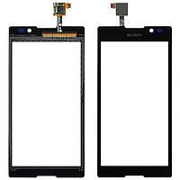 Тачскрин (сенсор) для Sony C2305 Сони (S39h) Xperia C, цвет черный, оригинал