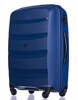 Чемодан большой дорожный польский пластиковый на 4 колесах синий 100 л Puccini ACAPULCO PP012B 7A