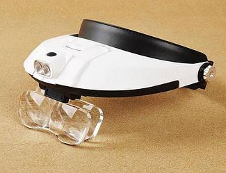 Бинокулярные очки лупа для радиомонтажа Beileshi, LED подсветка, сменные линзы.