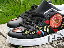 Женские сникерсы Gucci Black Floral & Bow Ace Sneakers, фото 3