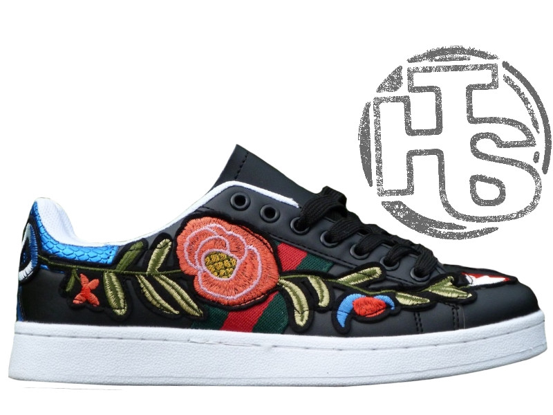 Женские сникерсы Gucci Black Floral & Bow Ace Sneakers