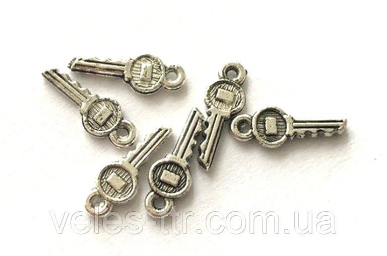 Подвеска Ключик 15х5 мм серебро античное