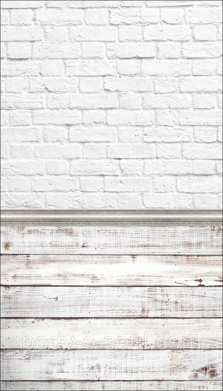 Фотофон двойной  виниловый, белый кирпич, белый доски
