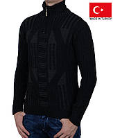 Вязанный  свитер под горло на молнии.Полустойка ворот.