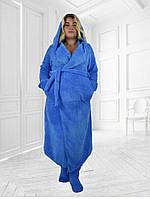 Махровый халат длинный с капюшоном большие размеры
