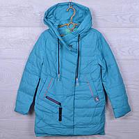 Куртка подростковая демисезонная Classic #ВМ708 для девочек. 128-152 см (8-12 лет). Бирюзовая. Оптом.