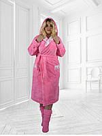 Махровый халат длинный с двойным капюшоном большие размеры
