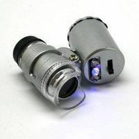 Карманный мини-микроскоп 60х, со светодиодной подсветкой (белый свет + ультрафиолет), работает от 3-х батареек