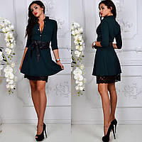 Красивое нарядное изумрудное платье с черным гипюровым подъюбником.  Арт-2251/11
