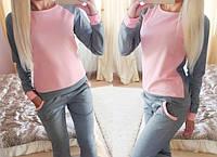 Спортивный костюм кофта бомпер + штаны штани Дуэт Розовый, фото 1