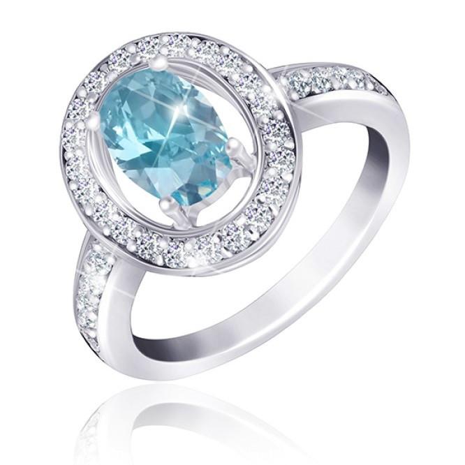 """Серебряное кольцо с имитацией топаза """"382"""""""