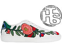 Женские сникерсы Gucci White Floral & Bow Ace Sneakers