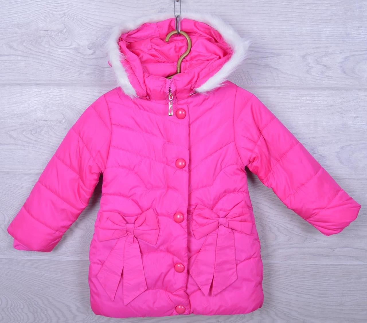 """Куртка детская демисезонная """"Бантики"""" #S73 для девочек. 4-6 лет. Ярко-розовая. Оптом."""
