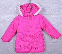 """Куртка детская демисезонная """"Бантики"""" #S73 для девочек. 4-6 лет. Ярко-розовая. Оптом., фото 1"""