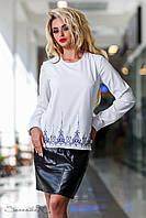 Женская нарядная белая блуза c длинным рукавом | Осень 2017