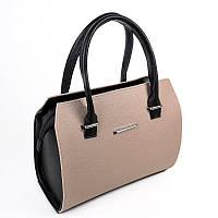 Бежевая женская сумка М50-66/47 деловая каркасная с черными вставками